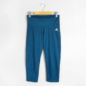 ADIDAS Blue Mid Rise Crop Leggings Yoga Pants
